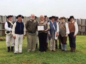 Hills Fort Society members and Hills Fort re-enactors with Col. Ellen Haddock, USMC, Retired (holding certificate).