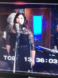 A screen shot of a video monitor during Jessica's recording session.