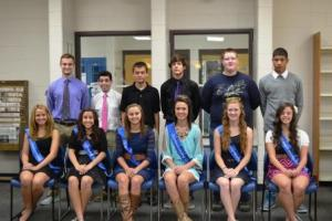 Homecoming Court Front (L to R): Anastasia Baird, Logan Hilmes,  Madilyne Tebbe, Tarren Hogue, Briana VanKleef, Katie Munshaw   Back (L to R): Jonathan Hall, TJ Zobrist, Camden Wall, Dawson Chesnut, Paul Whiteside, Ty Ephron