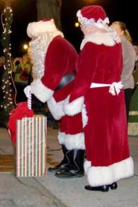 Santa also got to turn on the Christmas lights on the Bond County Courthouse.