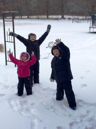 Deb Schlemer also shared this photo of the Schlemer kids celebrating no school in Mulberry Grove Wednesday