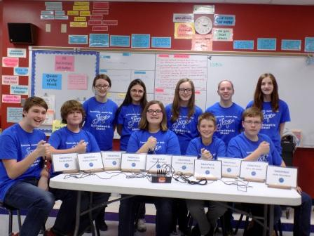 8th grade Scholastic Bowl members (L to R): Eli Borwick, Daniel Kester, Chloe Beckert, Zach Meyer, and Will Wagner.  (Back): Jolie Harnetiaux, Abbie Brunk, Ariana Williams, Alexis Feaster, and Jade Neudeck.