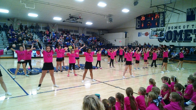 3rd through 5th grade participants of the Lil' Blue Crew Cheer Camp.