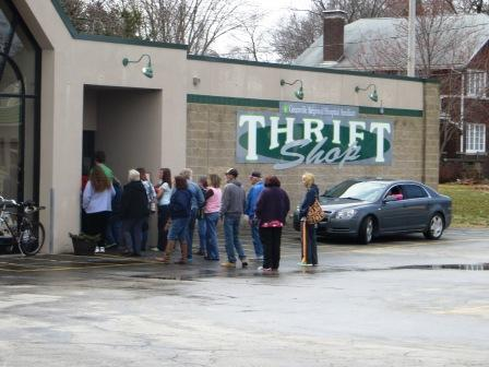 There was a line waiting when the Thrift Shop opened Monday.