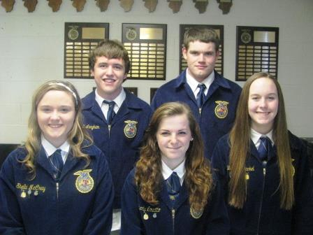 Chapter Award Winners: (front, l to r) Shelbi McCray, Kimbery Lovatto, Brook Krankel (back, l to r) Mitchell Langham and Adam Cruthis.