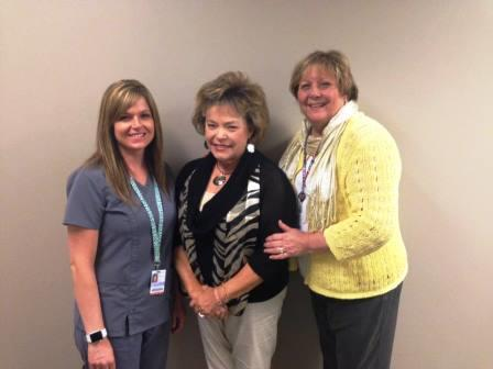 Left to right…..Betsy Mueller, RN (Bond County Hospice Director), Pat Potthast (Volunteer of The Year), Jo Sussenbach (Bond County Hospice Volunteer and Bereavement Coordinator).