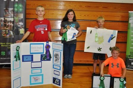 Award winners for Natural Resources project areas included: (l to r) Eyan Detmer, Alexandria Twitchell, Joseph Faust, and Phillip Wesselmann.