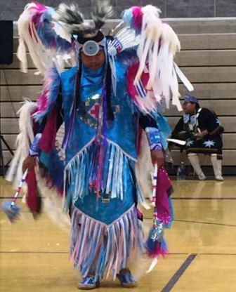 Members of the Northern Cheyanne Tribe performed a Pow Wow with traditional Dance, music, and song, in appreciation for the work done.