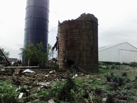 Roger & Genny Ennen of Hookdale submitted this photo of their 20X65 foot silo that was destroyed Wednesday.
