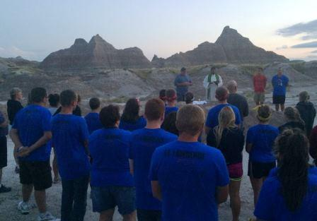 The group, who traveled with St. Mary's from Taylorville, celebrated Mass in the Badlands, South Dakota, on their journey home.